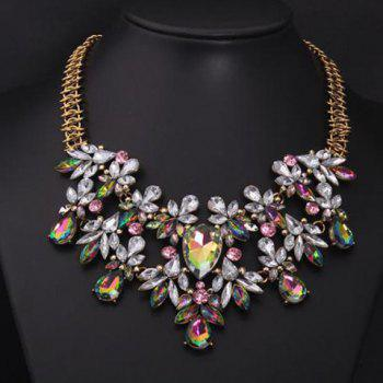 Rhinestone Faux Gem Decorated Water Drop Necklace