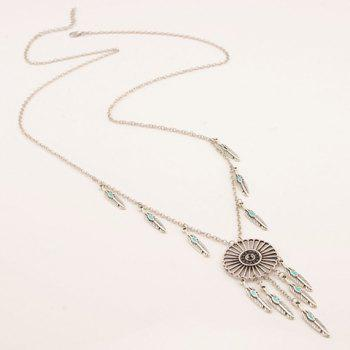 Hollow Out Round Feather Embellished Necklace