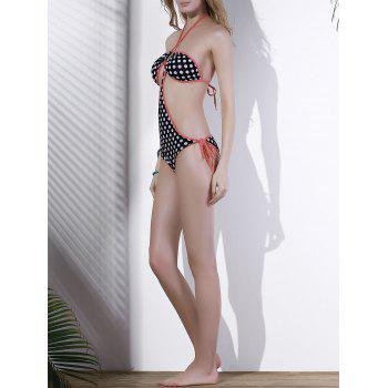 Trendy Halter Polka Dot Hollow Out One Piece Swimwear For Women - COLORMIX ONE SIZE(FIT SIZE XS TO M)