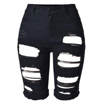 Trendy Broken Hole Stretchy Bermuda Shorts For Women