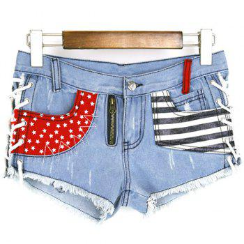 Mode Lace Up Bleach Wash poches design Imprimer Denim Shorts de femmes