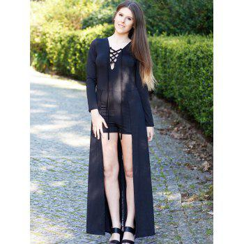 Long Sleeve Lace-Up Romper - BLACK S