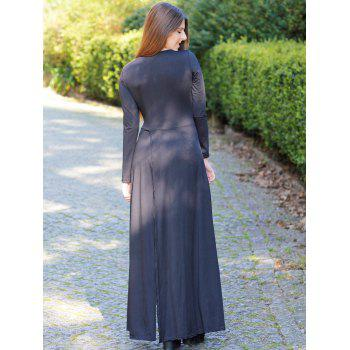 Élégant manches longues Criss-Cross Plongeant Neck Maxi Dress For Women - Noir M