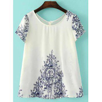 Brief Jewel Collar Short Sleeve Porcelain Embellished Blouse For Women