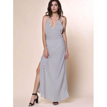 Bohemian Women's Plunging Neckline Striped Backless Dress - WHITE L