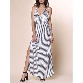 Bohemian Women's Plunging Neckline Striped Backless Dress - WHITE WHITE