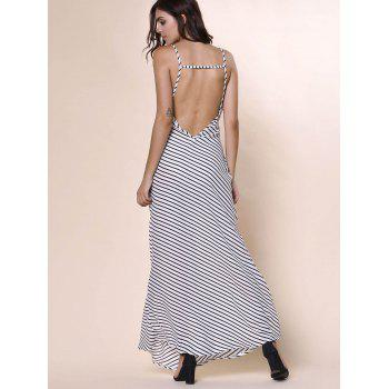 Bohemian Women's Plunging Neckline Striped Backless Dress - L L