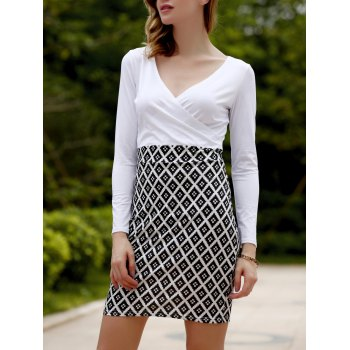 V Neck Geometrical Print Long Sleeve Dress For Women
