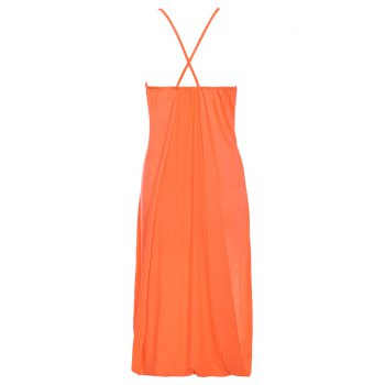 Trendy Women's Spaghetti Strap Solid Color Backless High Low Tank Top - JACINTH L