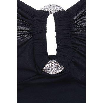 Stylish Women's Square Neck Rhinestone Embellished Hollow Out Tank Top - BLACK ONE SIZE(FIT SIZE XS TO M)