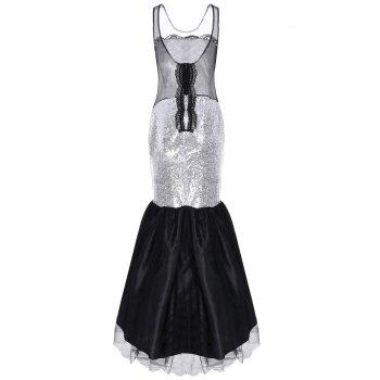 Noble Sleeveless Round Neck Sequined See-Through Women's Fishtail Dress - WHITE ONE SIZE(FIT SIZE XS TO M)