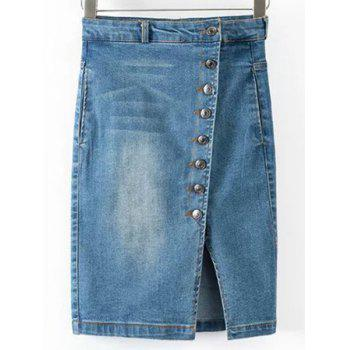Stylish Slit Buttoned Women's Bodycon Denim Skirt