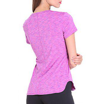 Sporty Women's Scoop Neck Space-Dyed Yoga Top - ROSE S