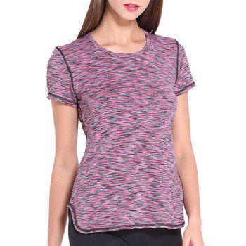 Sporty Women's Scoop Neck Space-Dyed Yoga Top - PURPLE L