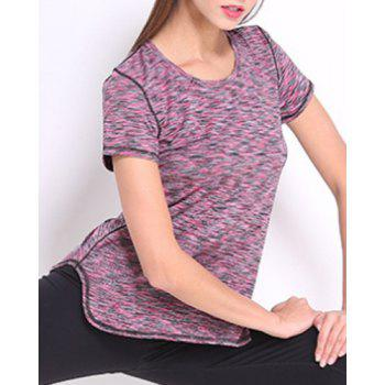 Sporty Women's Scoop Neck Space-Dyed Yoga Top - PURPLE PURPLE