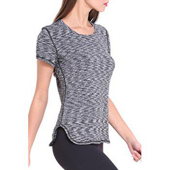 Sporty Women's Scoop Neck Space-Dyed Yoga Top - S S