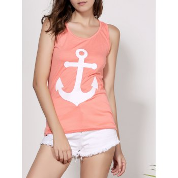 Stylish Scoop Neck Sleeveless Bowknot Embellished Printed Women's Tank Top