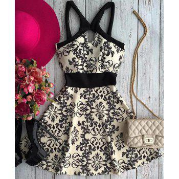 Buy Active Spaghetti Strap Floral Print Hollow Women's Dress WHITE
