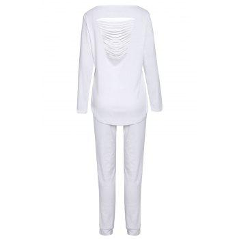 Stylish Solid Color Long Sleeve Ripped Blouse and Bodycon Drawstring Pants Twinset For Women - WHITE M
