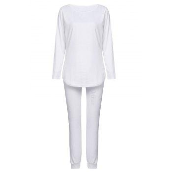 Stylish Solid Color Long Sleeve Ripped Blouse and Bodycon Drawstring Pants Twinset For Women