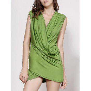 Stunning Plunging Neck Sleeveless Solid Color Ruffled Women's Dress
