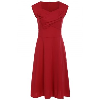 Vintage Pure Color Sweetheart Neck Sleeveless Dress For Women - RED 2XL