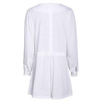 Stylish Plunging Neck Long Sleeve Drawstring Design Women's White Romper - WHITE M