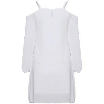 Casual Spaghetti Strap Long Sleeve Loose-Fitting Irregular Hem Women's White Dress