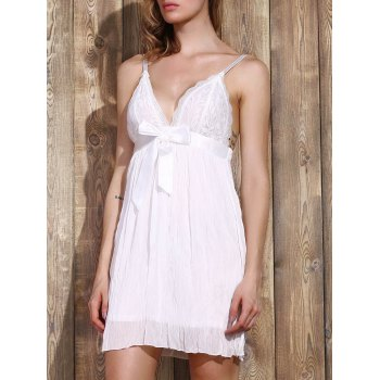 Trendy Plunging Neck Lace Bowknot Decorated Pleated Babydolls For Women - WHITE WHITE