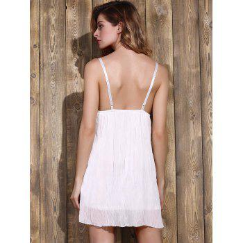 Trendy Plunging Neck Lace Bowknot Decorated Pleated Babydolls For Women - WHITE M