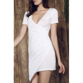 Plunging Collar Short Sleeve Solid Color Bodycon Dress - S S