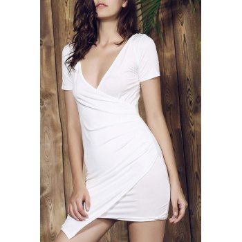 Plunging Collar Short Sleeve Solid Color Bodycon Dress - WHITE L