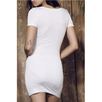 Plunging Collar Short Sleeve Solid Color Bodycon Dress - L L