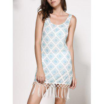 Chiffon imprimé Dropped Armhole Flapper Tank Dress - multicolorcolore S