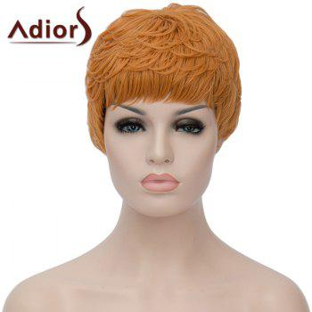 Trendy Short Black Golden Ombre Synthetic Shaggy Straight Adiors Hair Women's Bump Wig - OMBRE