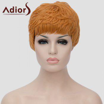 Trendy Short Black Golden Ombre Synthetic Shaggy Straight Adiors Hair Women's Bump Wig - OMBRE 2