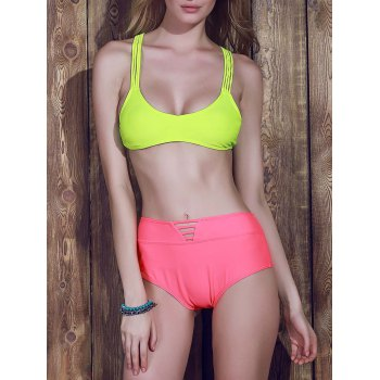 Sexy Women's Racerback High-Waisted Bikini Set - YELLOW L