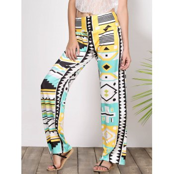 Stylish Mid-Waisted Loose-Fitting Geometric Print Women's Exumas Pants