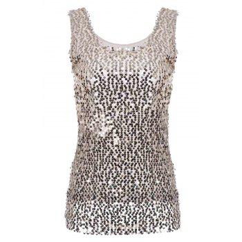 Sequins Embellished Sleeveless Scoop Neck Solid Color Trendy Tank Top