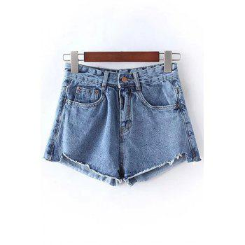 Stylish High Waist Solid Color Bleach Wash Denim Women's Shorts