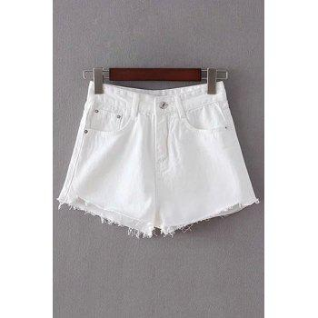Stylish High Waist White Fitting Women's Shorts