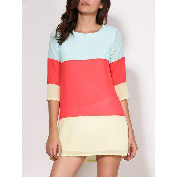 Casual 3/4 Sleeve Scoop Collar Color Block Women's Dress