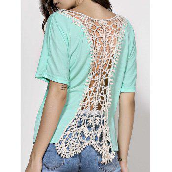 Stylish Dolman Sleeve Scoop Neck Backless Women's Crochet T-Shirt