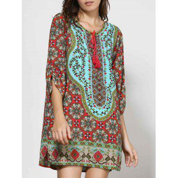 Vintage Style V-Neck 3/4 Sleeve Full Print Women's Dress