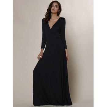 Women's Plunging Neckline 3/4 Sleeve Plus Size Solid Color Dress - BLACK BLACK