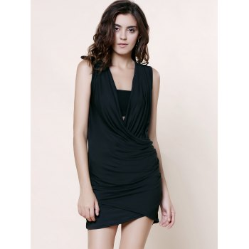 Stunning Plunging Neck Sleeveless Solid Color Ruffled Women's Dress - BLACK S