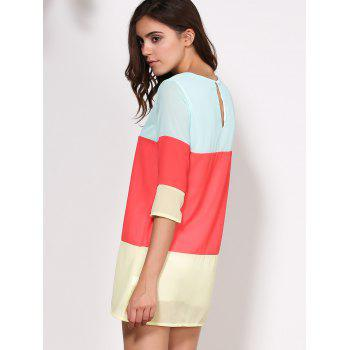 Casual 3/4 Sleeve Scoop Collar Color Block Women's Dress - RED RED