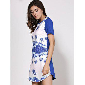 Casual Round Neck Trees Print Dress For Women - PURPLISH BLUE XL