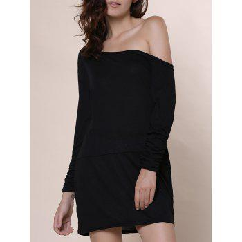 Scoop Neck Long Sleeve Solid Color T Shirt