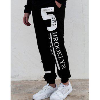 Hot Sale Beam Feet Letters Number Star Print Loose Fit Men's Lace-Up Sweatpants - BLACK M